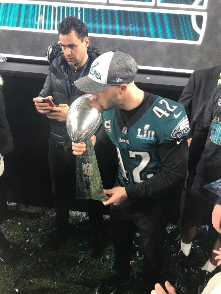 Chris Maragos with Super Bowl Trophy